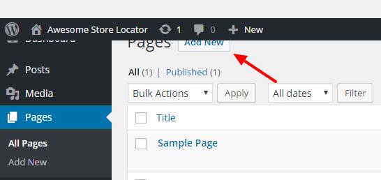 Store Locator Wordpress - Step 1
