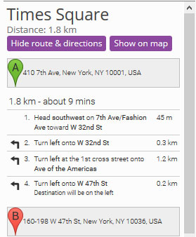 Store Locator - driving directions from A to B